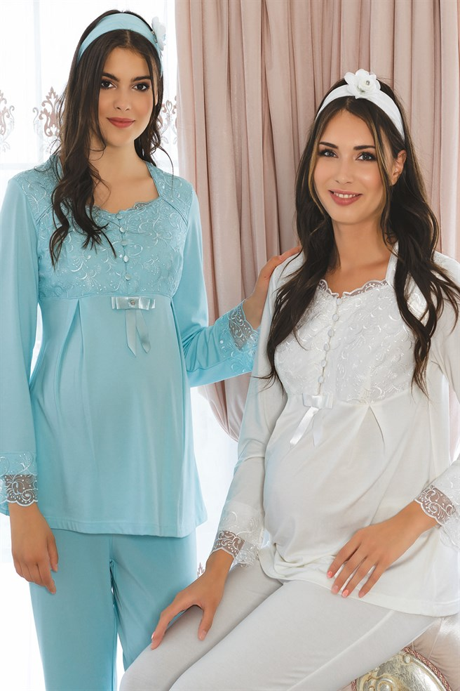 MECIT 1915 Lace Detailed Maternity Pajama Set