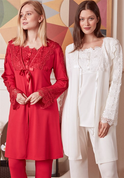 MECIT 1926 Exit Lacy with Sleeves Maternity Pajama and Robe Set