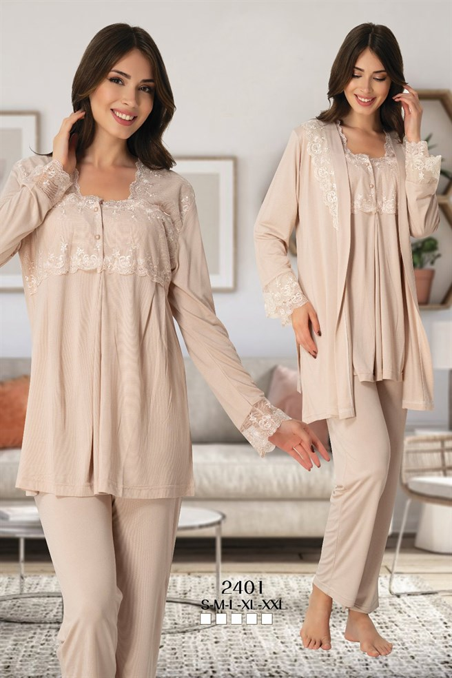 Effortt 2401 Milk Chocolate Color Maternity Pajama and Robe Sets