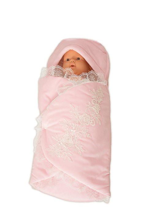 Lh 1426  Lace Embroidered Baby Pink Color Baby  Swaddle