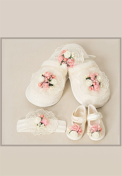 Lh 503 Baby Pink flower MomMy Baby Slipper and Crown Set