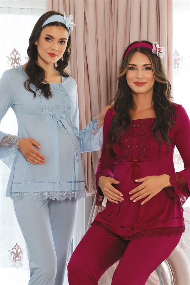 MECIT 1820 Shiny Stone Detailed Maternity Pajamas Set