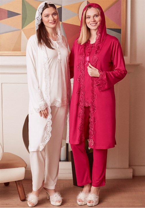 MECIT 1927 Hooded Lace Detailed Maternity Pajama and Robe Set