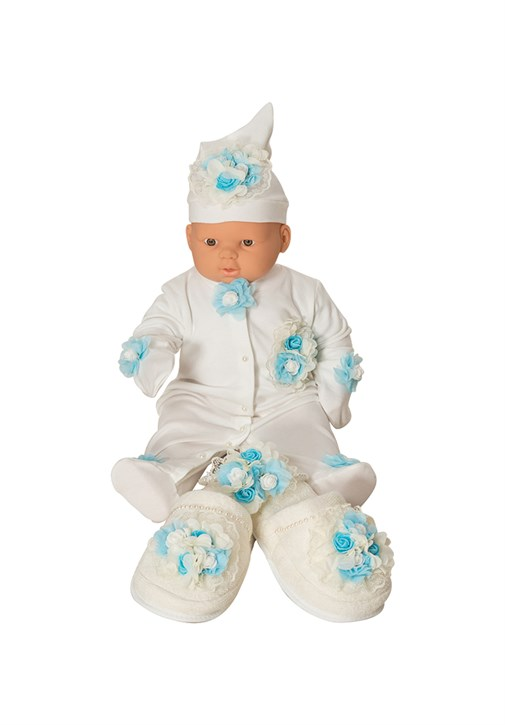 MECIT 205 Baby Rompers 5 Pieces Maternity Slipper and Crown Set