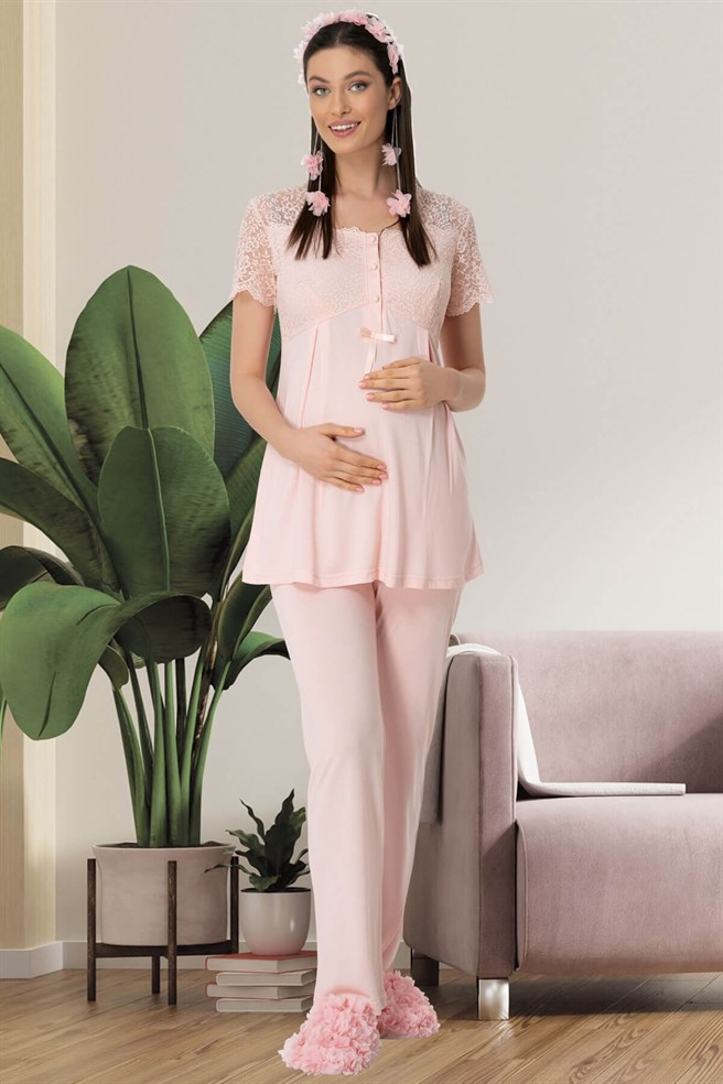 Mecit 5442 Powder Lace Detailed Maternity Pajamas