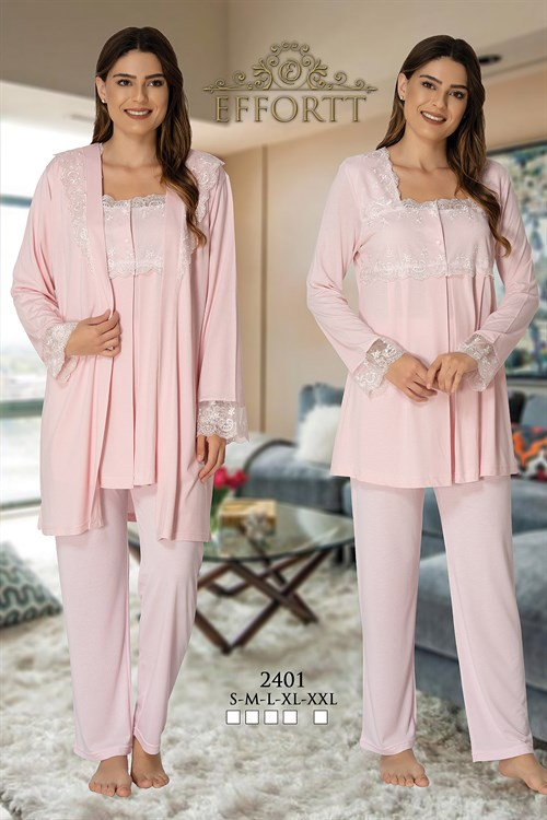 Effortt 2401 Baby Pink Color Maternity Pajama and Robe Set