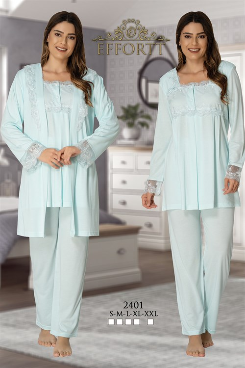 Effortt 2401 Turquoise Color Maternity Pajama and Robe Set