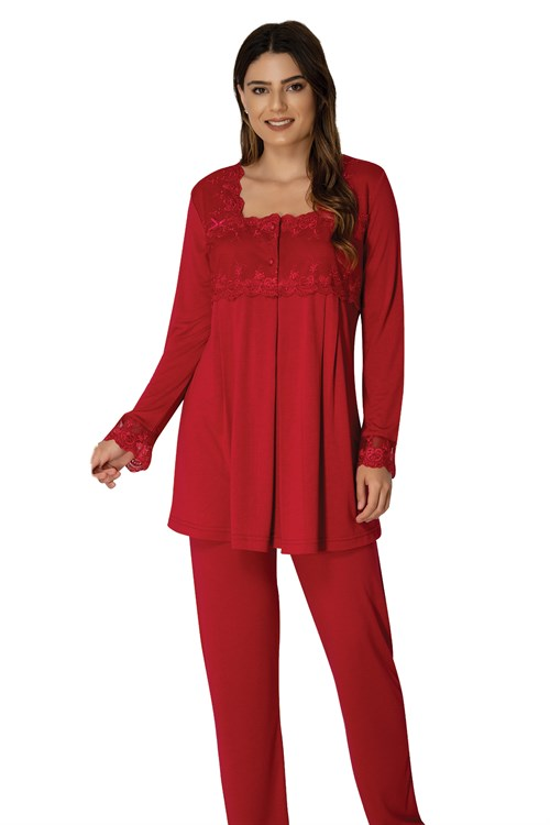 Effortt 2403 Cherry Red  Maternity Pajama and Robe Set