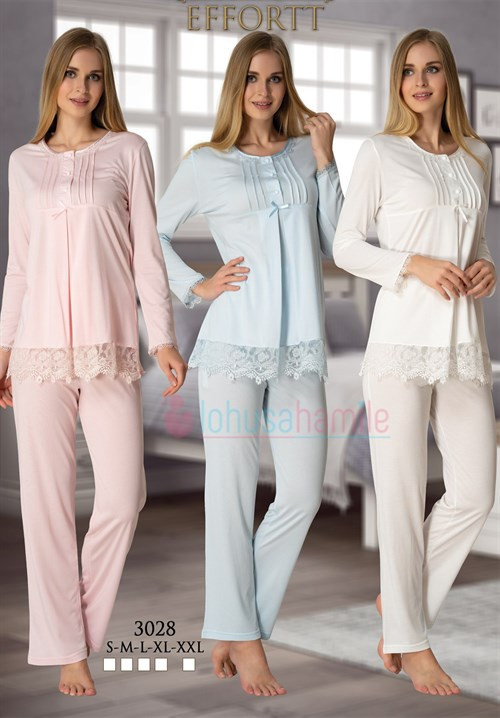 Effortt 3028  Lacy Maternity Pajama Set