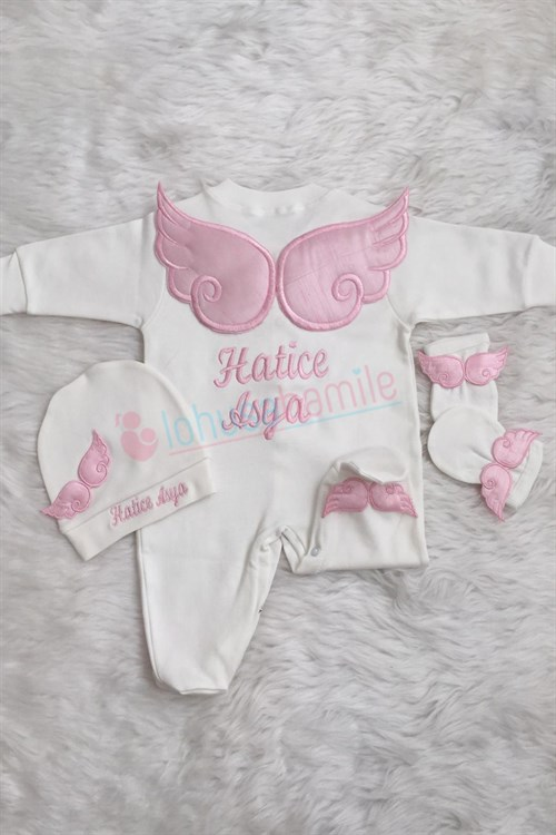 Personalized Angel Wing 3 Piece Baby Rompers Set-3004