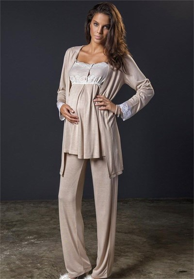 Bondy 17213 Maternity Pajama and Robe Set