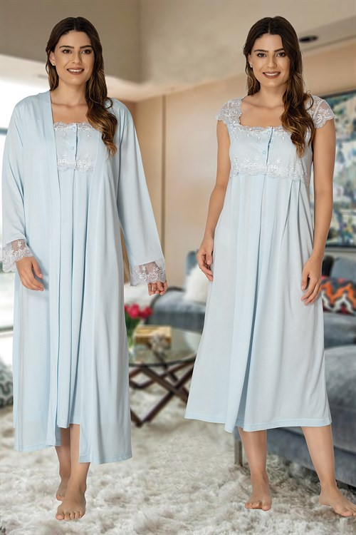 Effortt 2302 Maternity Nightgown and Robe Set