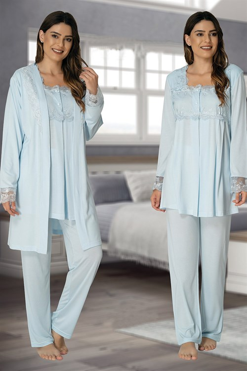 Effortt 2401 Baby Blue Maternity Pajama and Robe Set
