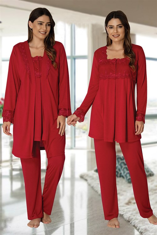 Effortt 2401 Cherry Red  Maternity Pajama and Robe Set