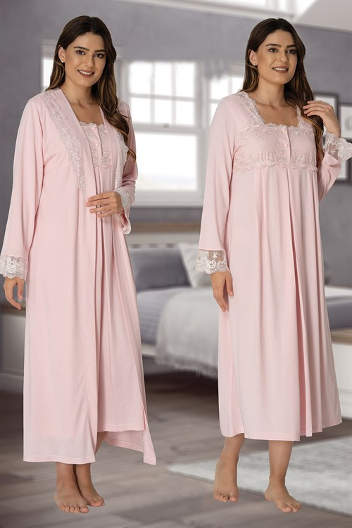 Effortt 2402 Baby Pink Maternity Nursing Nightgown and Robe Set