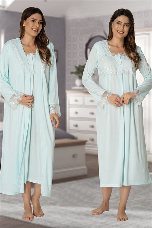 Effortt 2402 Turquoise Maternity Nightgown and Robe Set