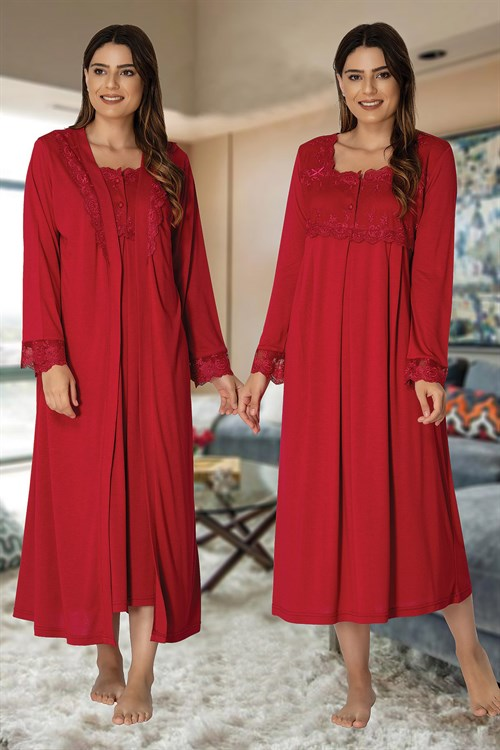 Effortt 2402 Cherry Red Maternity Nightgown with Robe Set