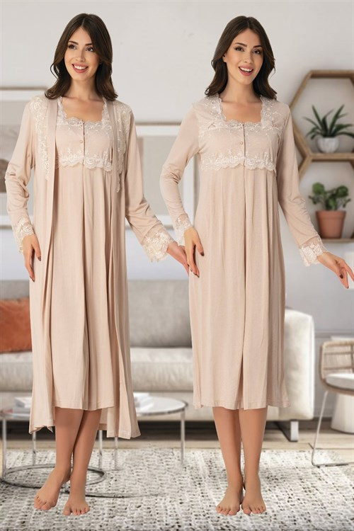 effortt 2402SK Maternity Nightgown and Robe Set