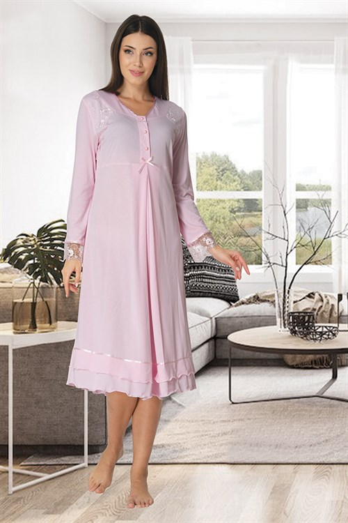 Effortt 2423 Baby Pink Maternity Nightgown