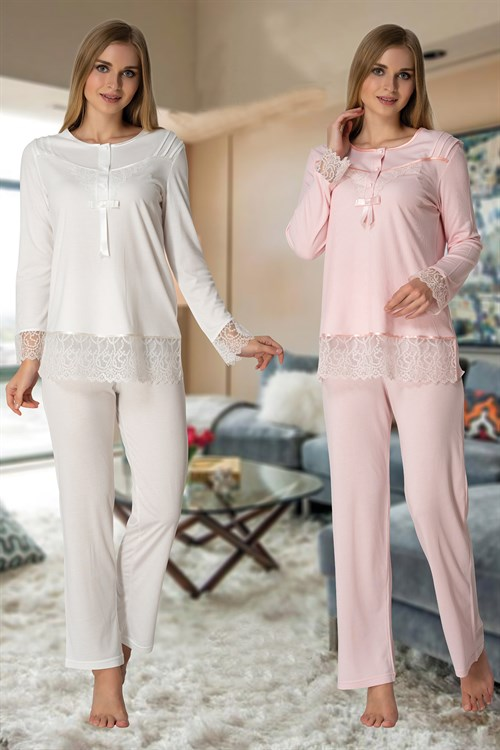Effortt 3063 Lace Detailed Maternity Pajama Set