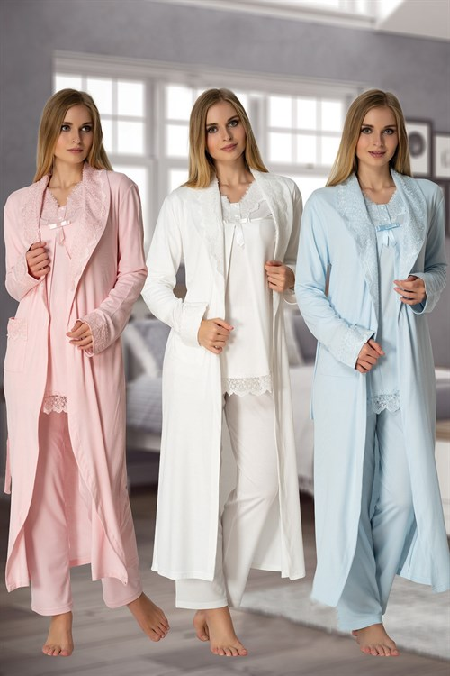 Effortt 4034 Maternity Pajama and Long Dressing Gown Set