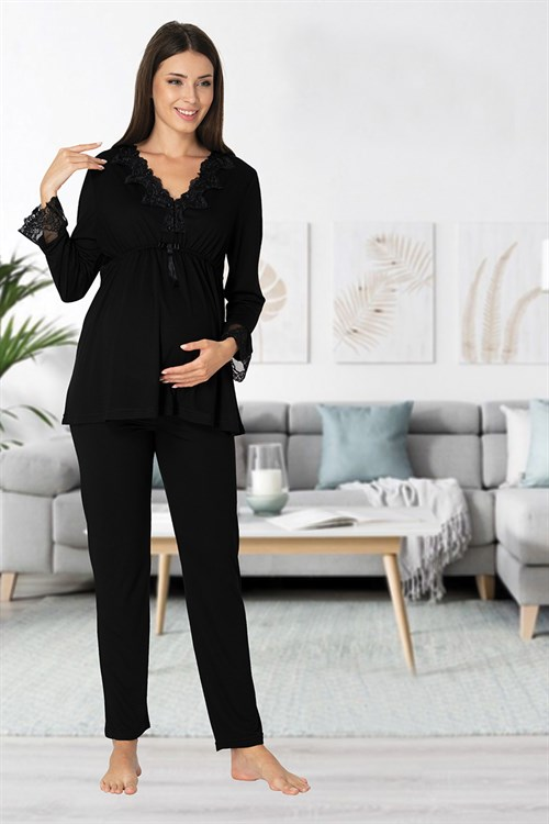 Effortt 8092 Black Lace Collar Maternity Pajama