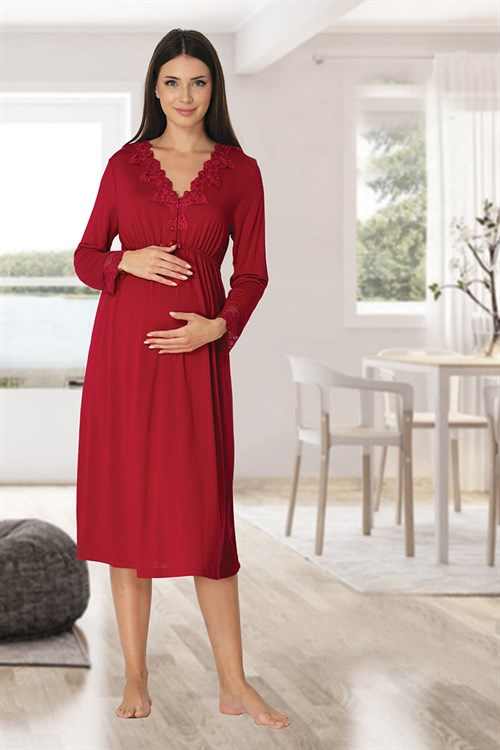 Effortt 8093 Cherry Red Lace Collar Maternity Nightgown
