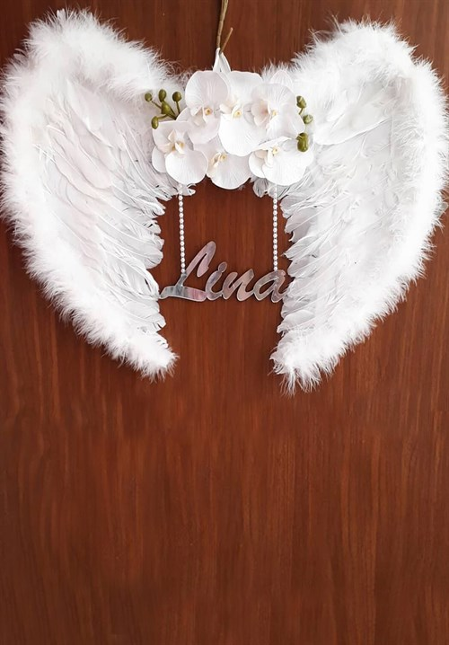 Personalized Orchid Flower Feathered Door Ornament LH9005