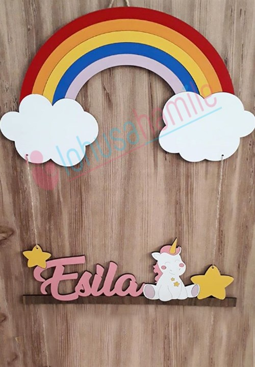 Personalized Rainbow Patterned Door Ornament LH9004