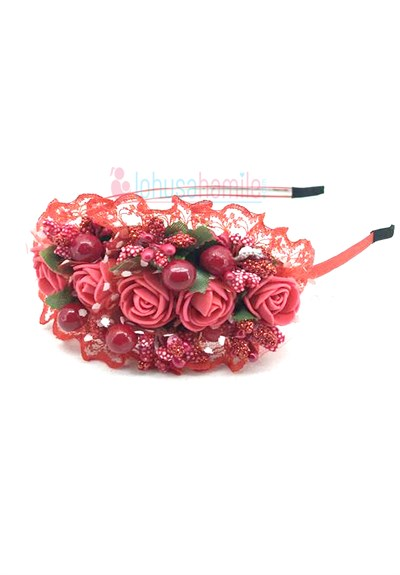 Lh 105 Red Flower Maternity Crown