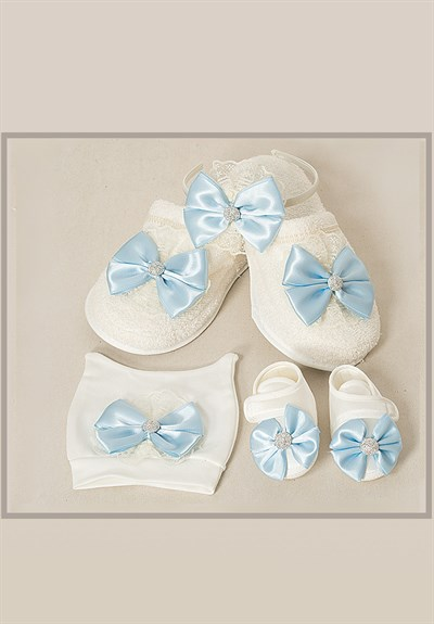 Lh 507 Baby Blue Bowtie MomMy Baby Hat and Slipper Set
