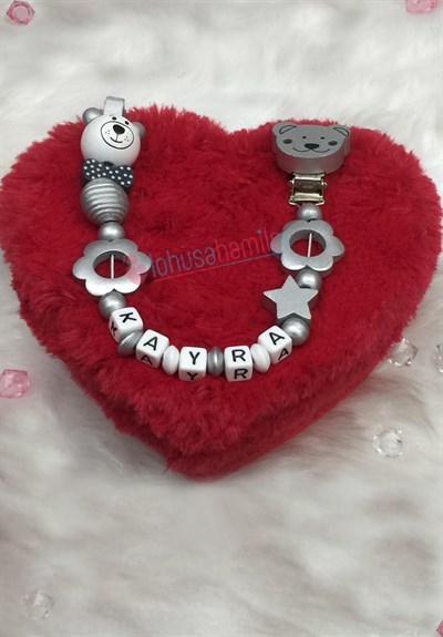 Lh 541 Grey Personalized Pacifier Chain with Name
