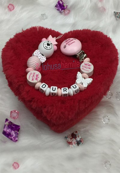 Lh 543 Baby Pink Personalized Pacifier Chain with Name