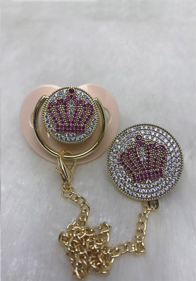 Lh 557 Pink Crown Zircon Stone Pacifier and Chain Set