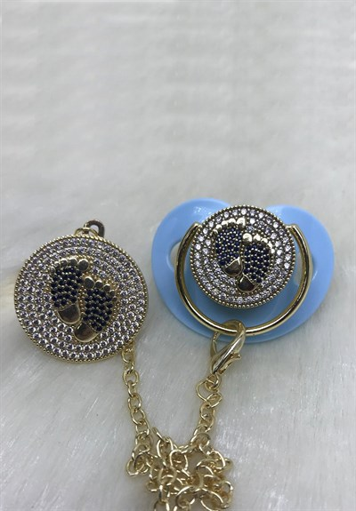 Lh 558 Blue Zircon Stone Pacifier and Chain Set