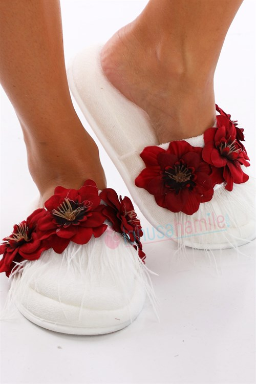 LH12030 Red Flower Feathered Maternity Nursing Slipper