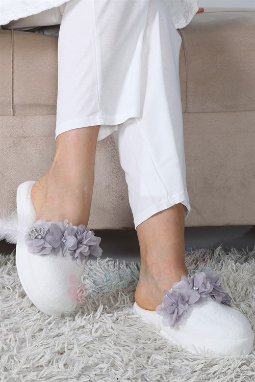 Lh12080 Grey Lotus Maternity Nursing Slipper