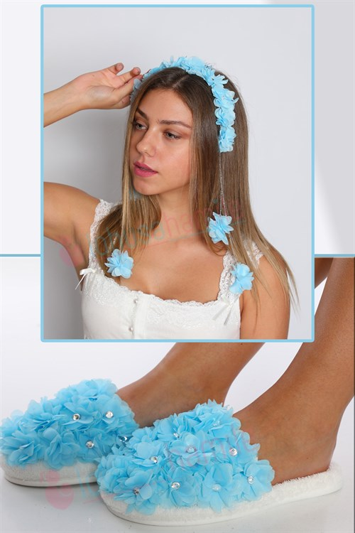 Lh23321 Baby Blue  Hanging Earring Crown And Beylem  Slipper Set