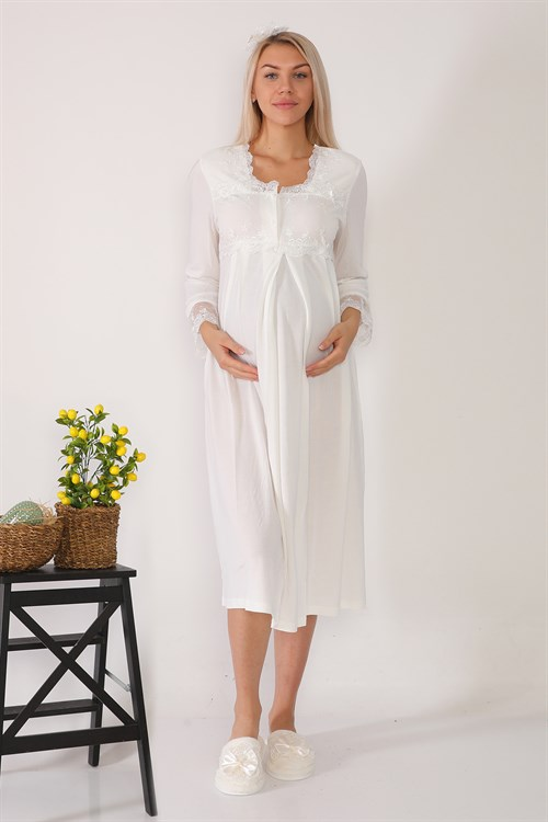 Lohusa Hamile 2604 Ecru Maternity Nightgown