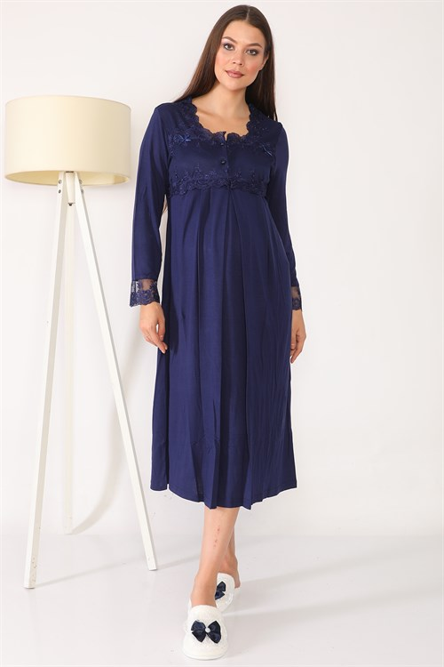Lohusa Hamile 2604 Navy Blue Maternity Nightgown