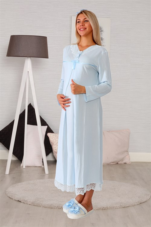 Lohusa Hamile 6033 Baby Blue Lace Detailed Maternity Nightgown Set