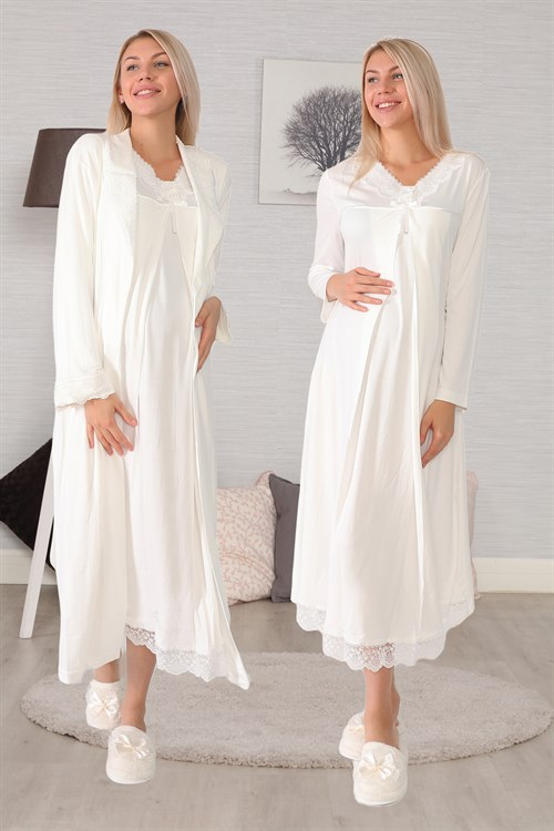 Maternity Nursing 6035 Ecru Maternity Nightgown with Robe Set