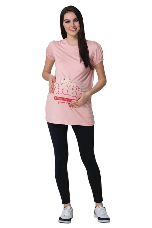 MECIT 1660 Pink Baby Patterned Maternity T-Shirt