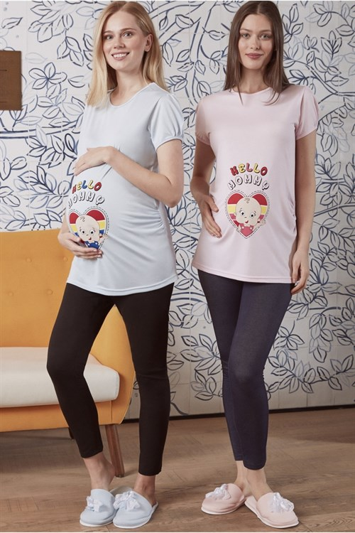 MECIT 1894 Hello Mommy Patterned Maternity T-Shirt