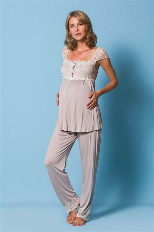 Monamise 18304 Lace Detailed Shoulders Maternity Pajama